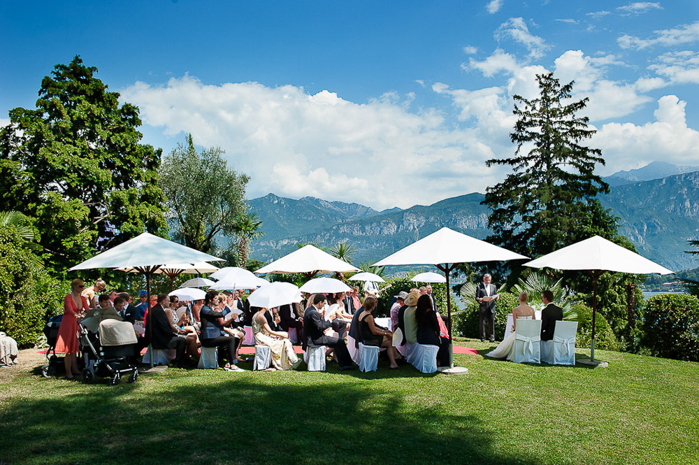 Italian wedding photographers, portfolio, Lake Como wedding, ceremony on top of the hill on grass