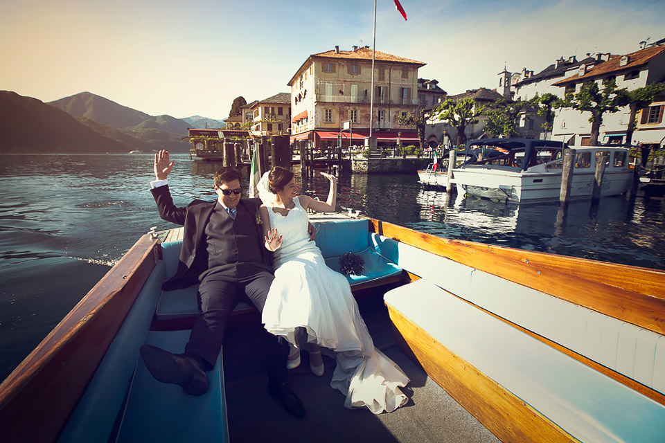 Lake Orta wedding, Jocelyn and Neven just married