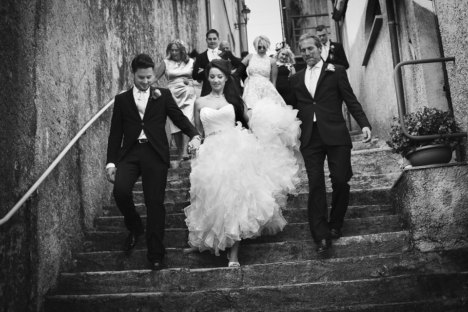 bride, groom and guests