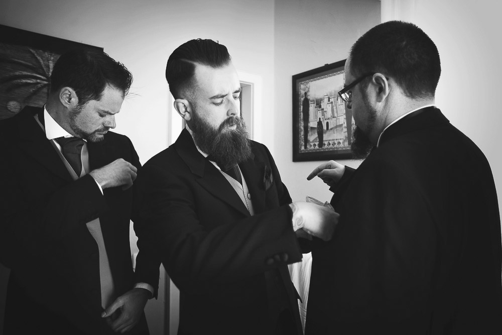 groom's men are getting ready