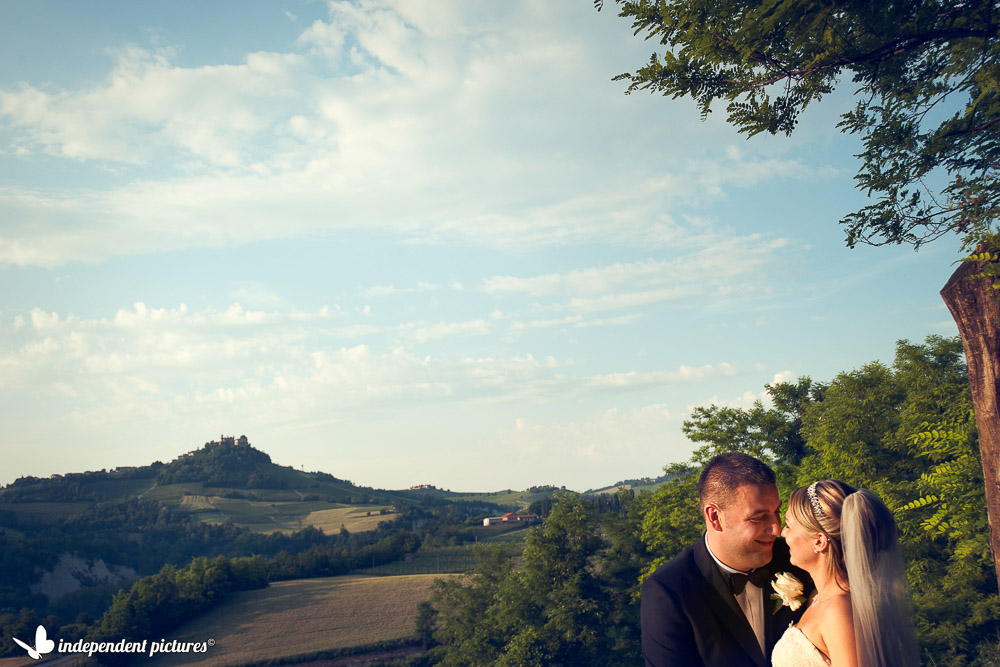 bride and groom on vineyard hills