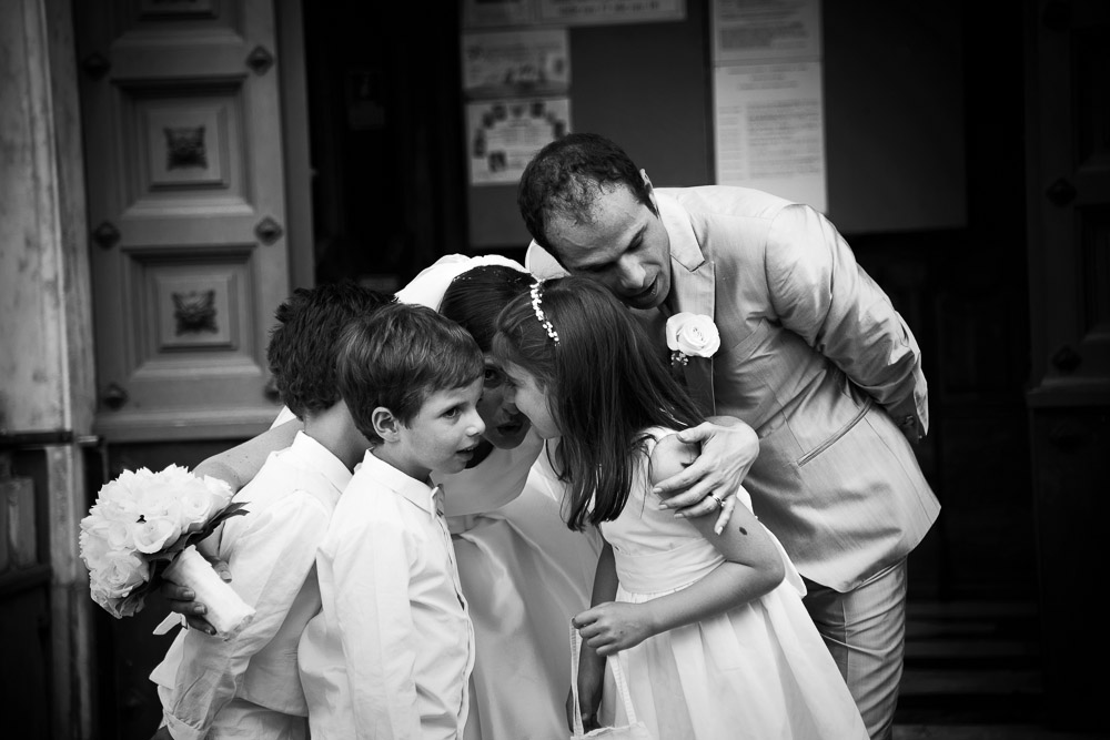 bride groom and kids