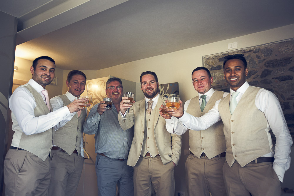 groom and groomsmen toast