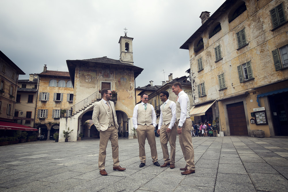 groom at the main square Orta