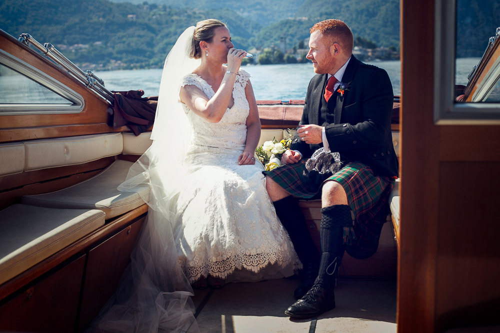 whisky on boat for bride and groom