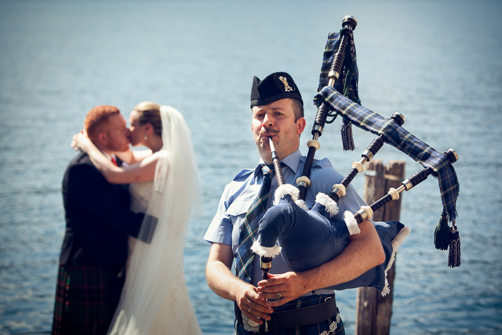 Scottish piper at the wedding