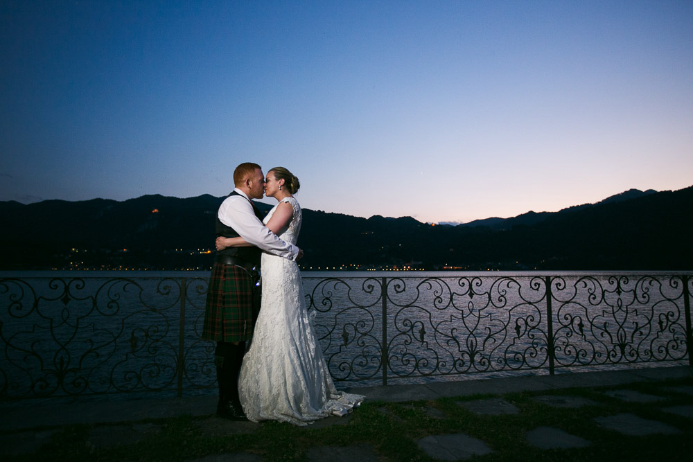 Lake Orta, bride and groom at the sunset