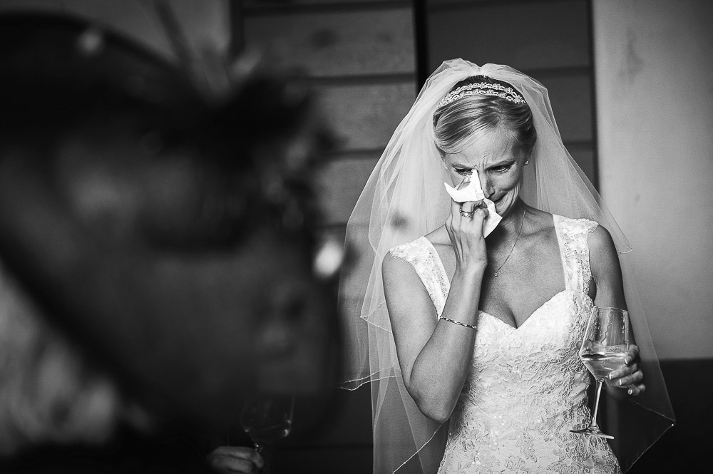 bride is crying