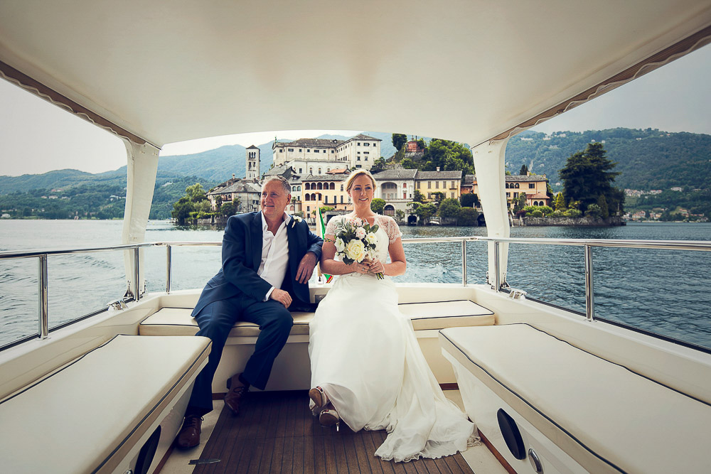 bride and father on boat