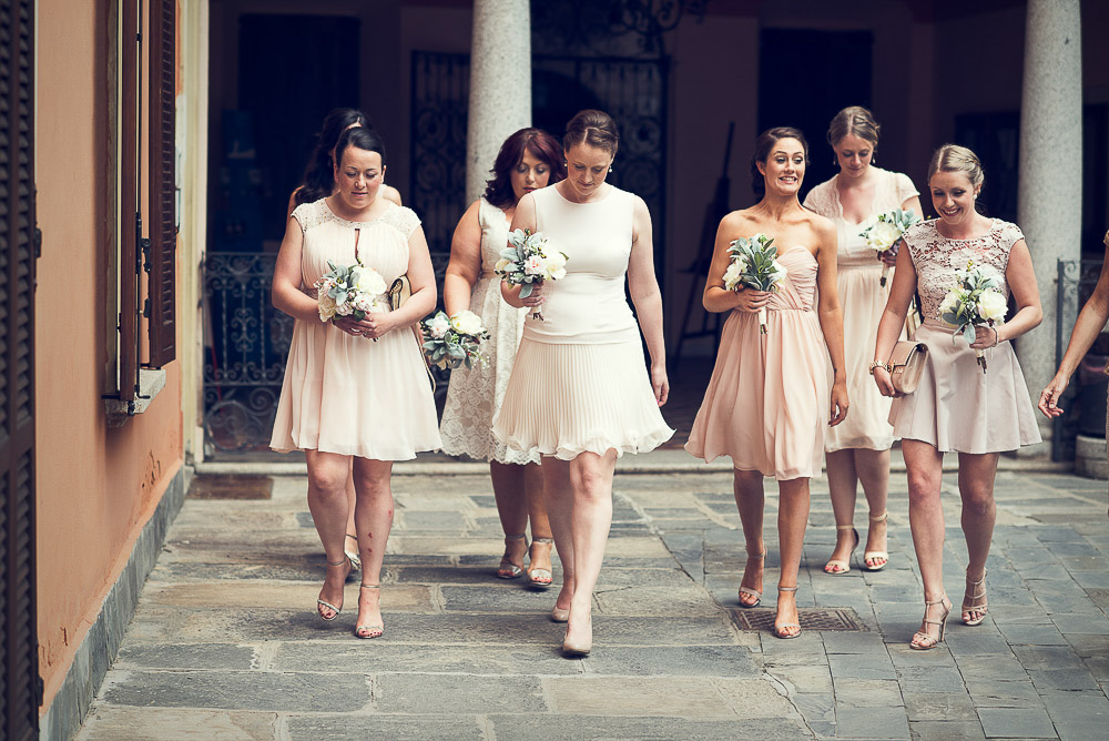 bridesmaids getting ceremony