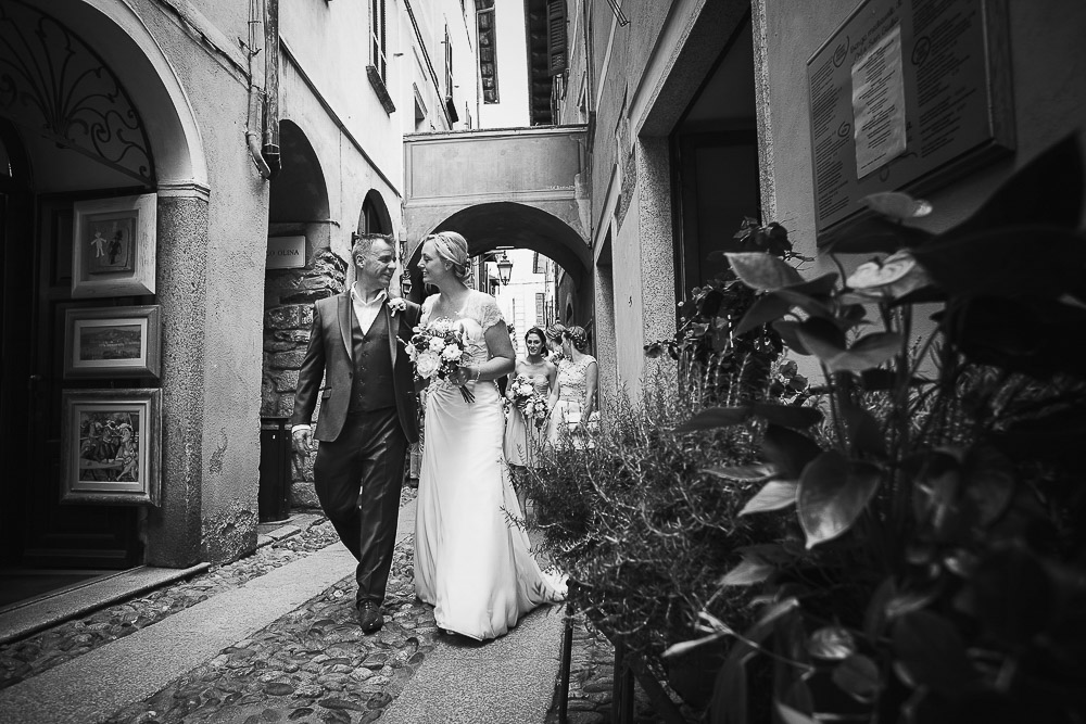 bride and groom at Orta