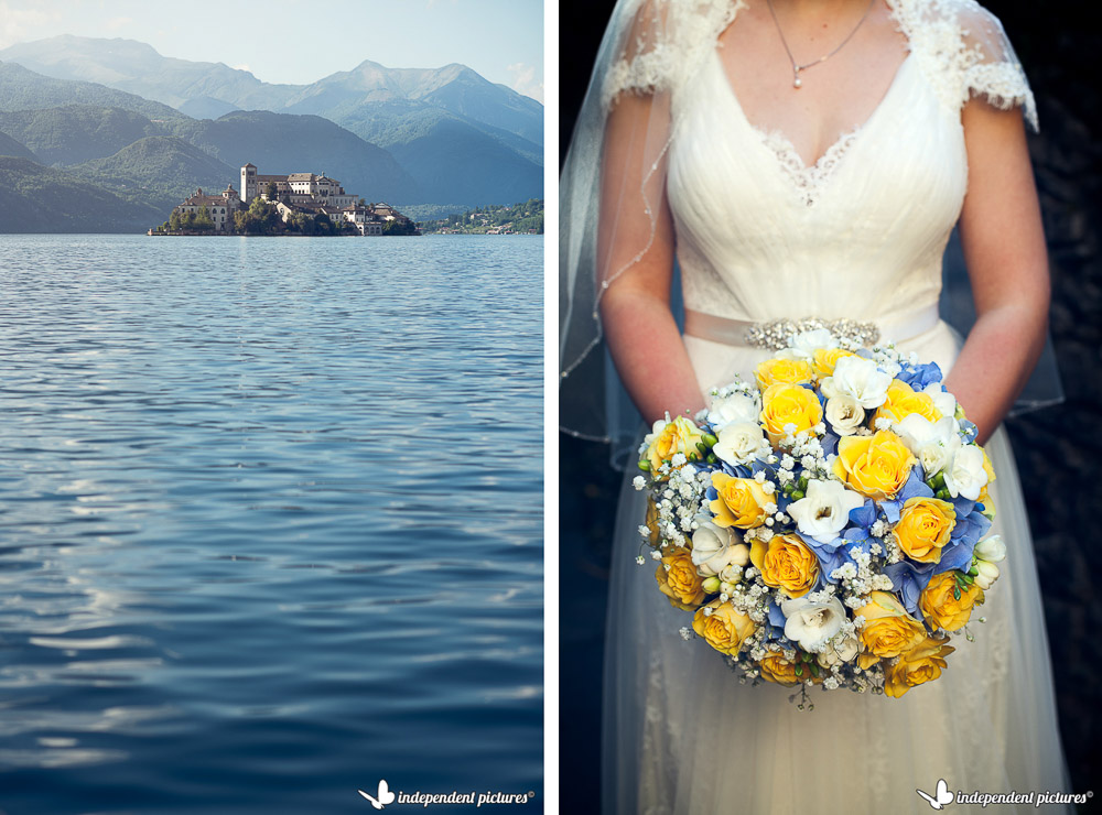 bridal bouquet and san giulio island