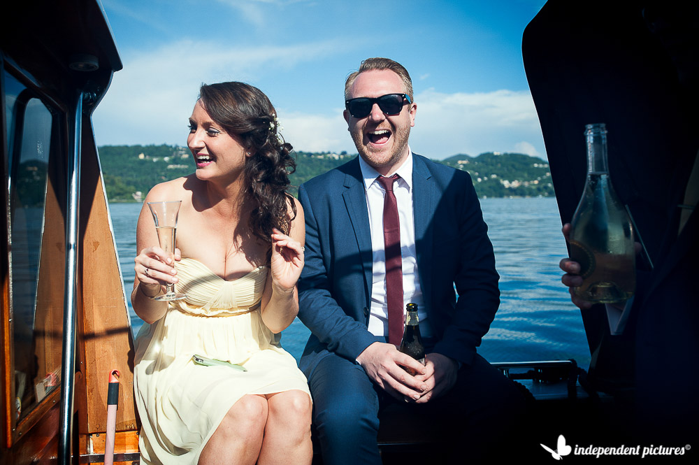 guests laughing on boat