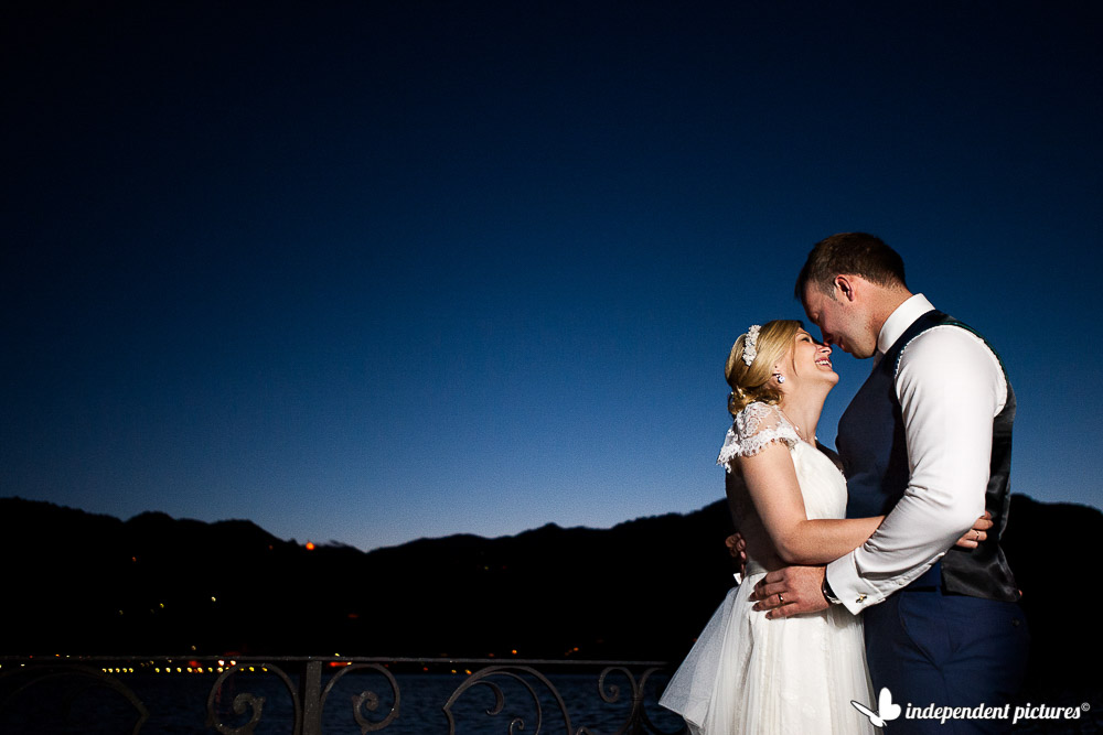 bride and groom blue hour