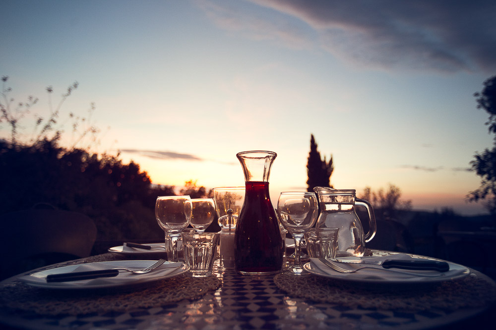 red wine at the sunset