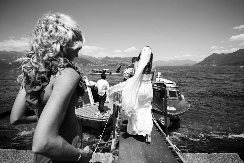 bride is boarding the boat
