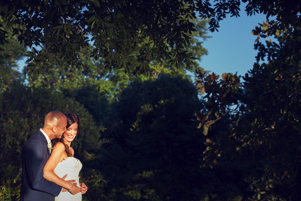 bride and groom at the golden hour