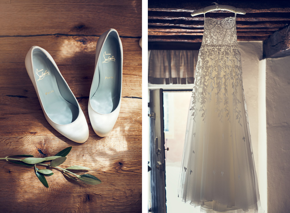 bridal gown and shoes