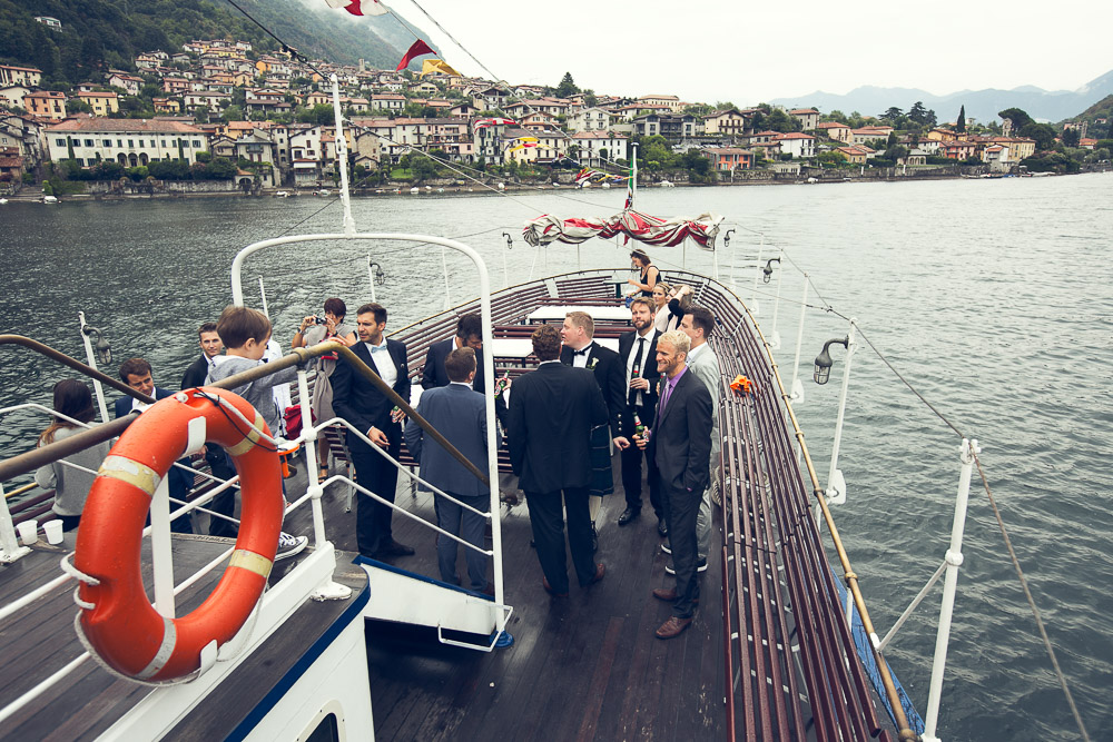 wedding guests on boat