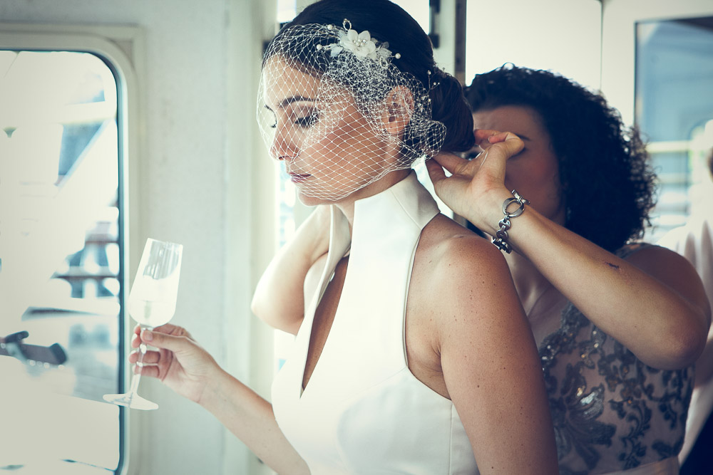Bride with a glass of prosecco