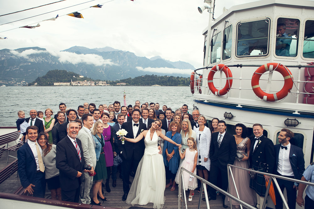 all the wedding party on boat