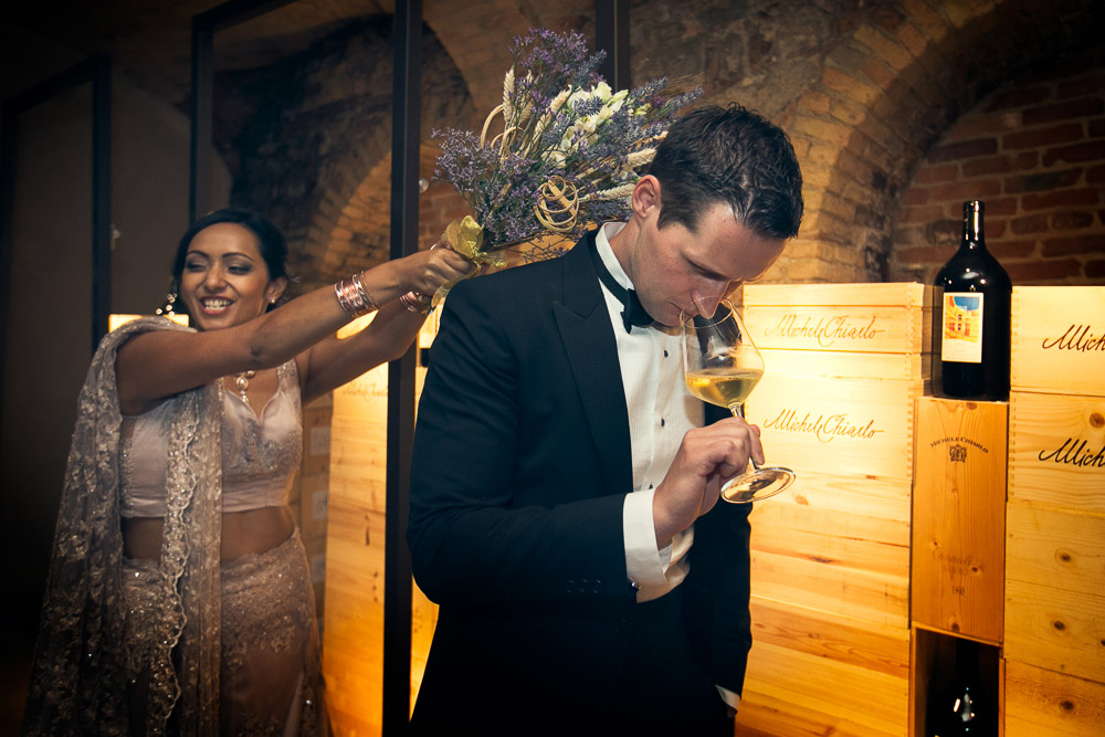 groom's tasting wine