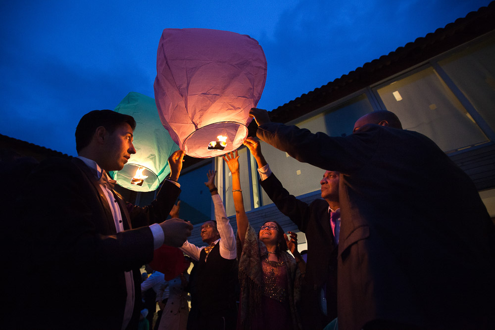 guests with lantern
