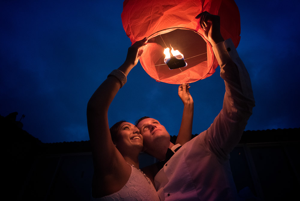 bride and groom wedding lantern