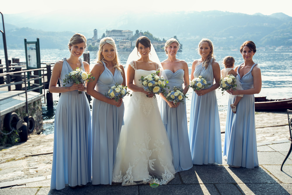 bride and bridesmaids lake orta