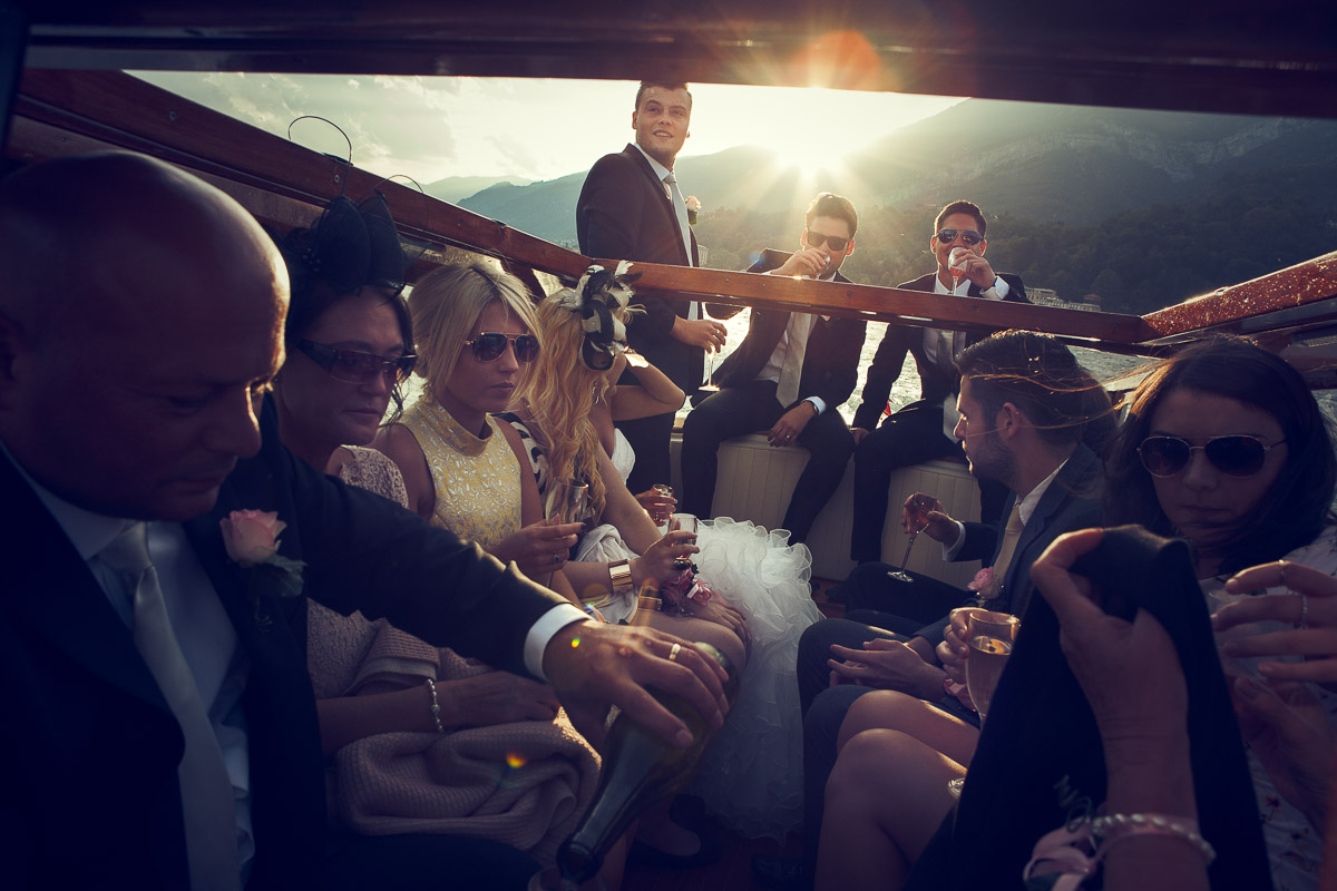 lake como wedding on boat