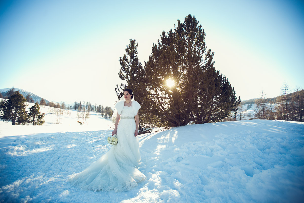 alps wedding in italy, bride on snow