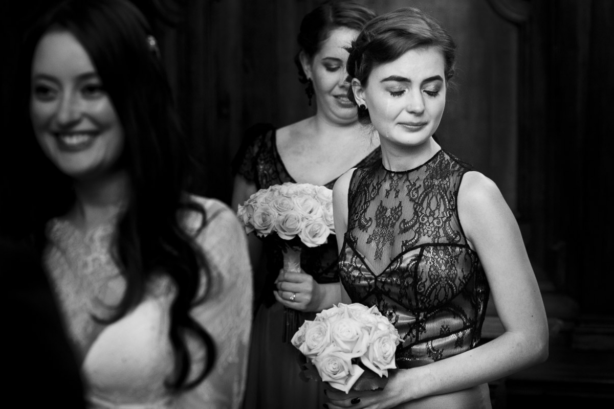 bridesmaid crying at ceremony