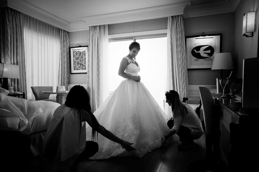 bride wearing her gown