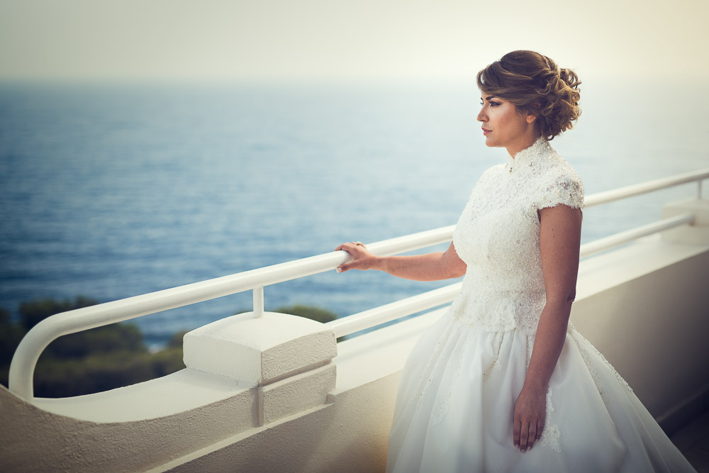 bride looks at the sea