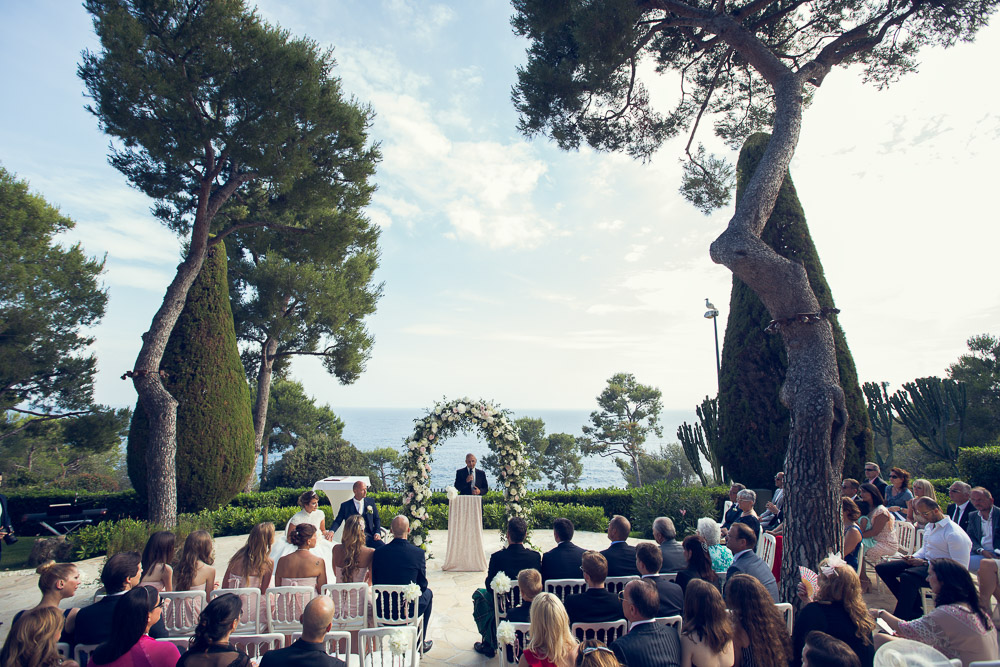 French riviera wedding on terrace overlooking the sea
