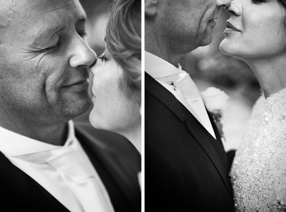 bride and groom kiss close up