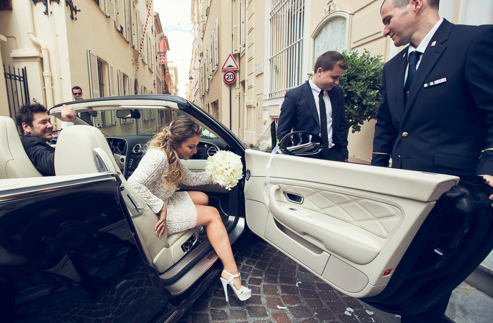 bride gets out Bentley