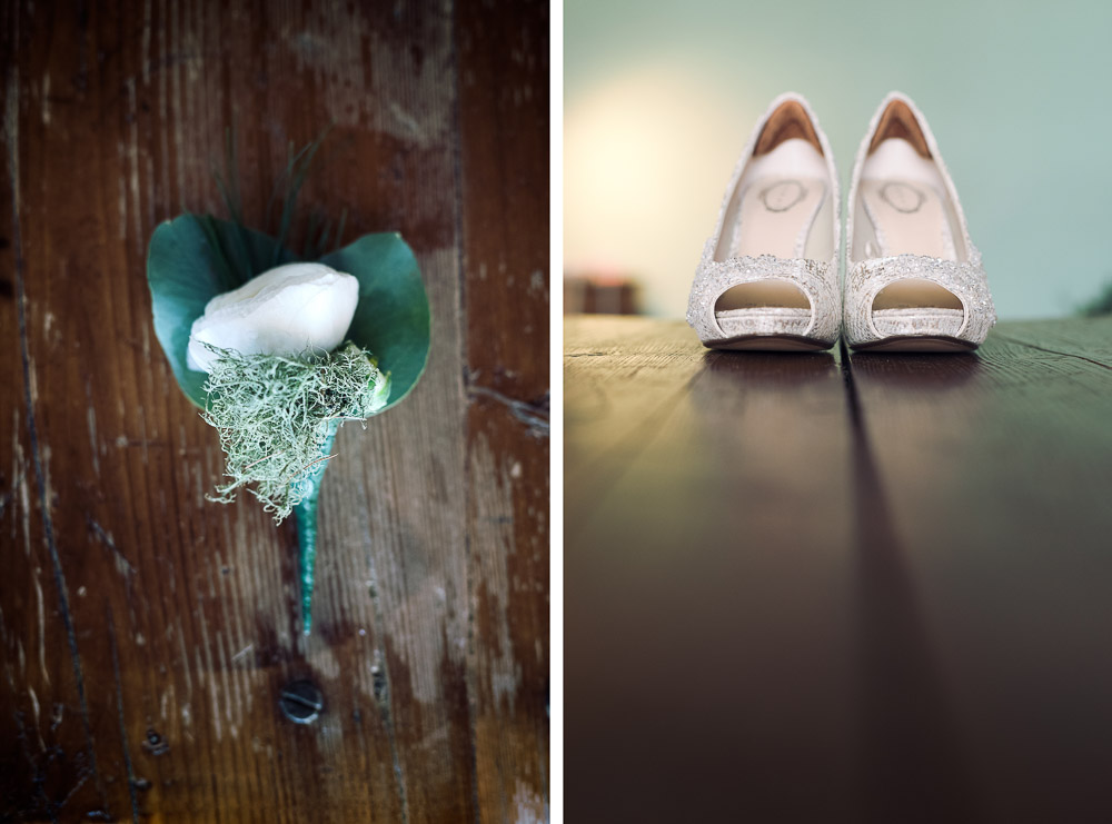 wedding shoes and boutonniere