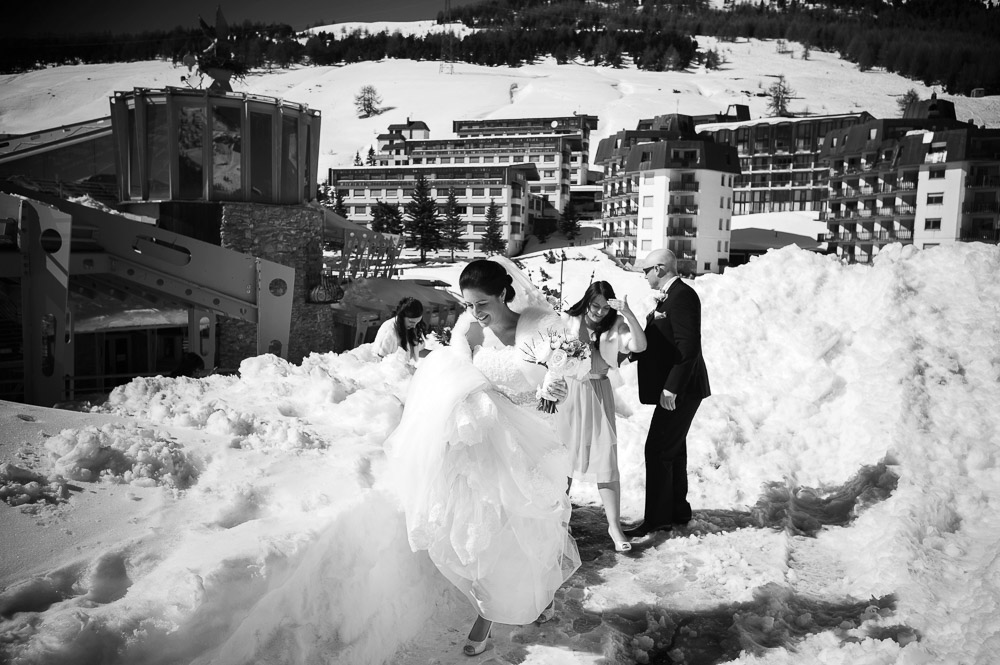 bride on the snow