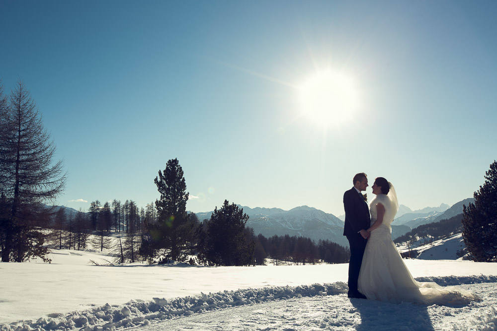 Clare and rob winter wedding on the Alps