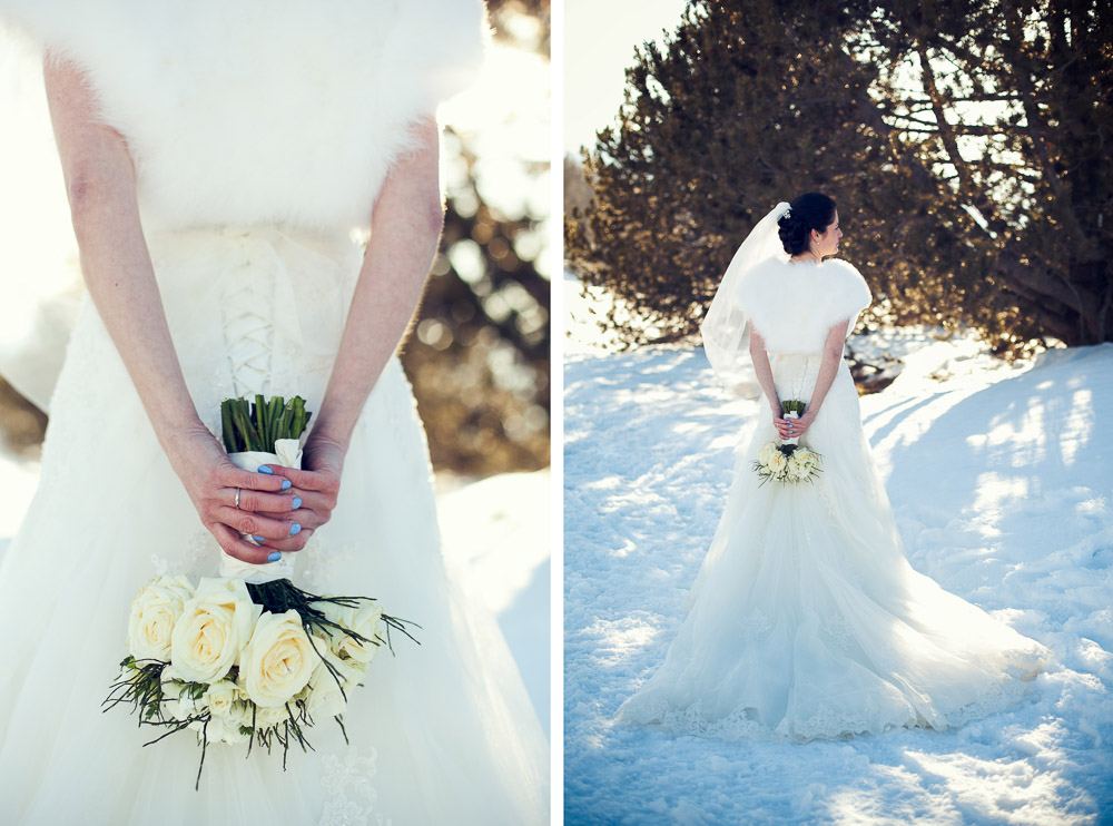 bride and bouquet on the snow