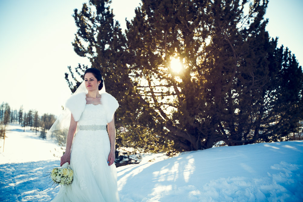 bride on the snow Sestriere