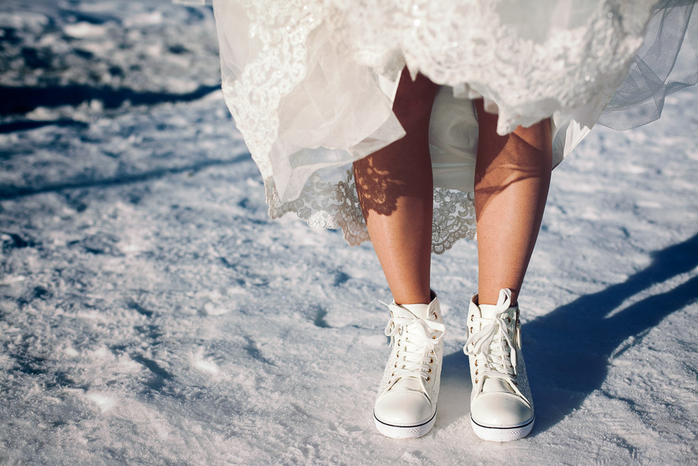 bride's snow wedding shoes