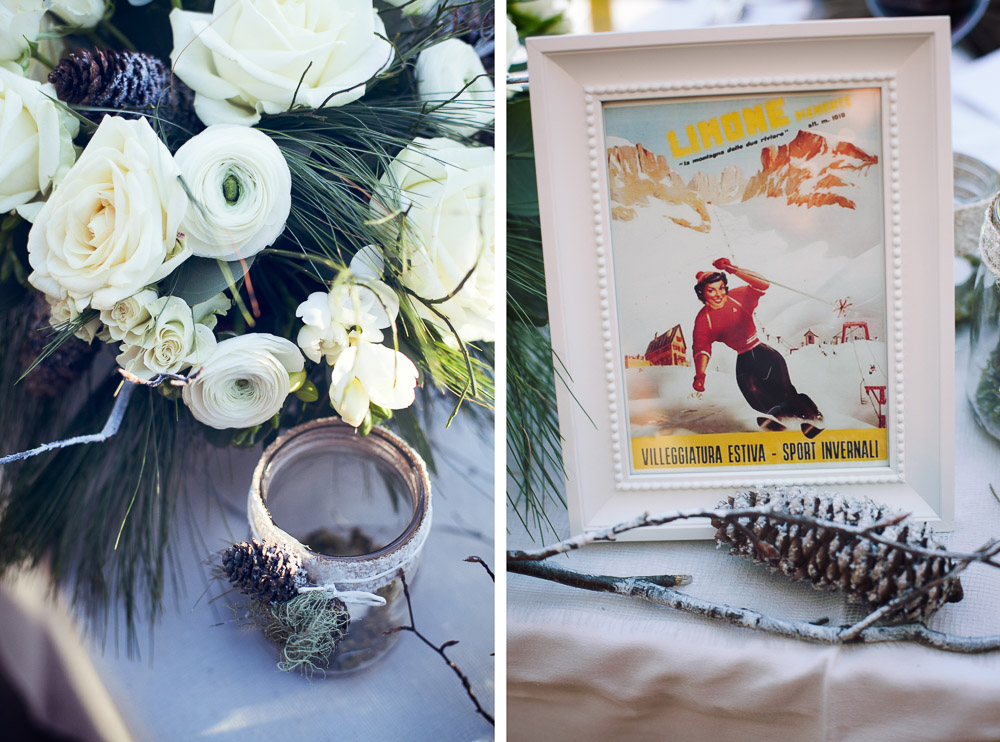 winter wedding table details