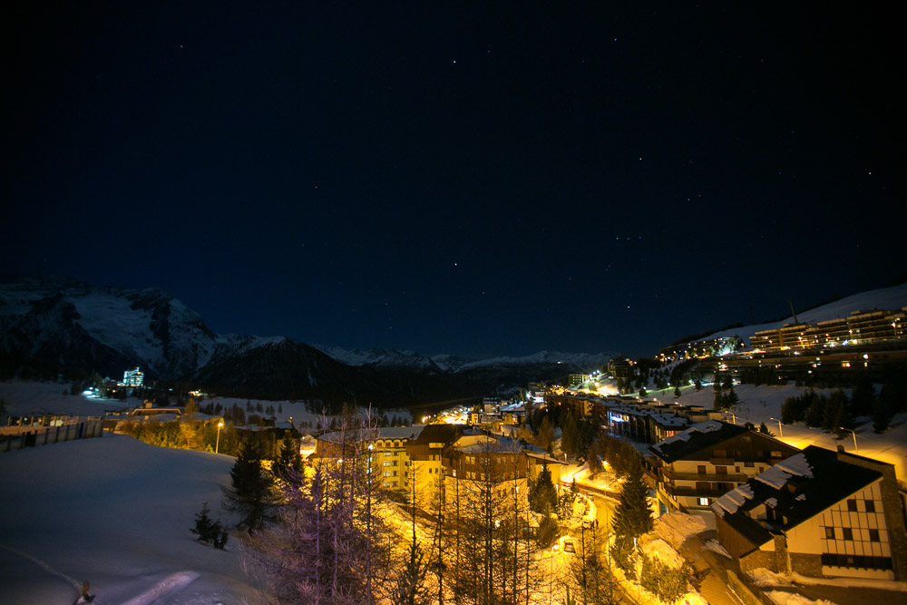 night view Sestriere