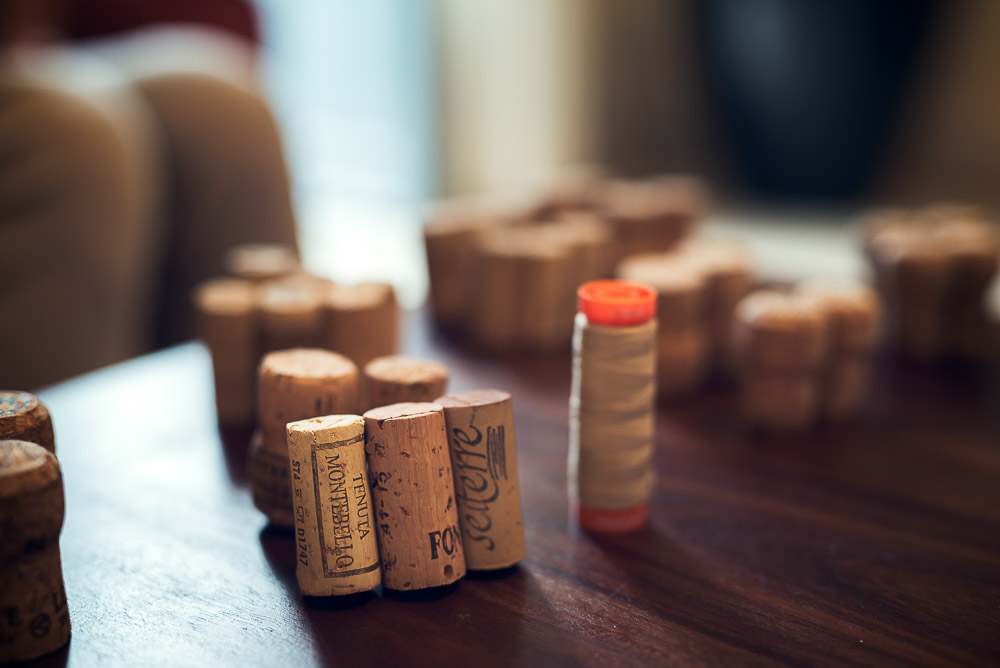 cork stoppers as table top