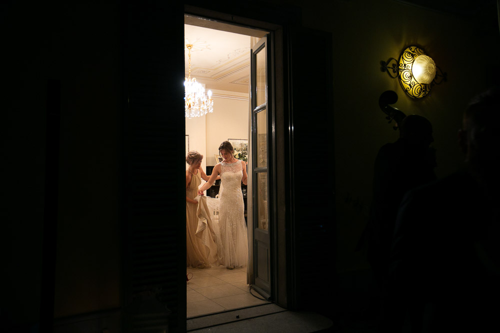 bride goes out the villa