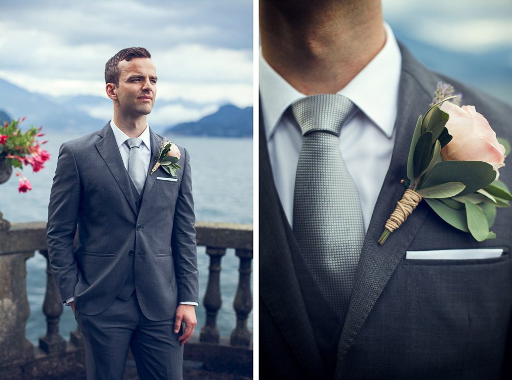 groom and his tie