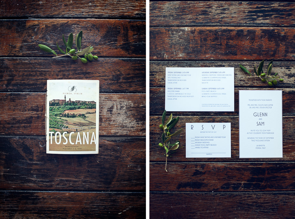 wedding stationery in Tuscany