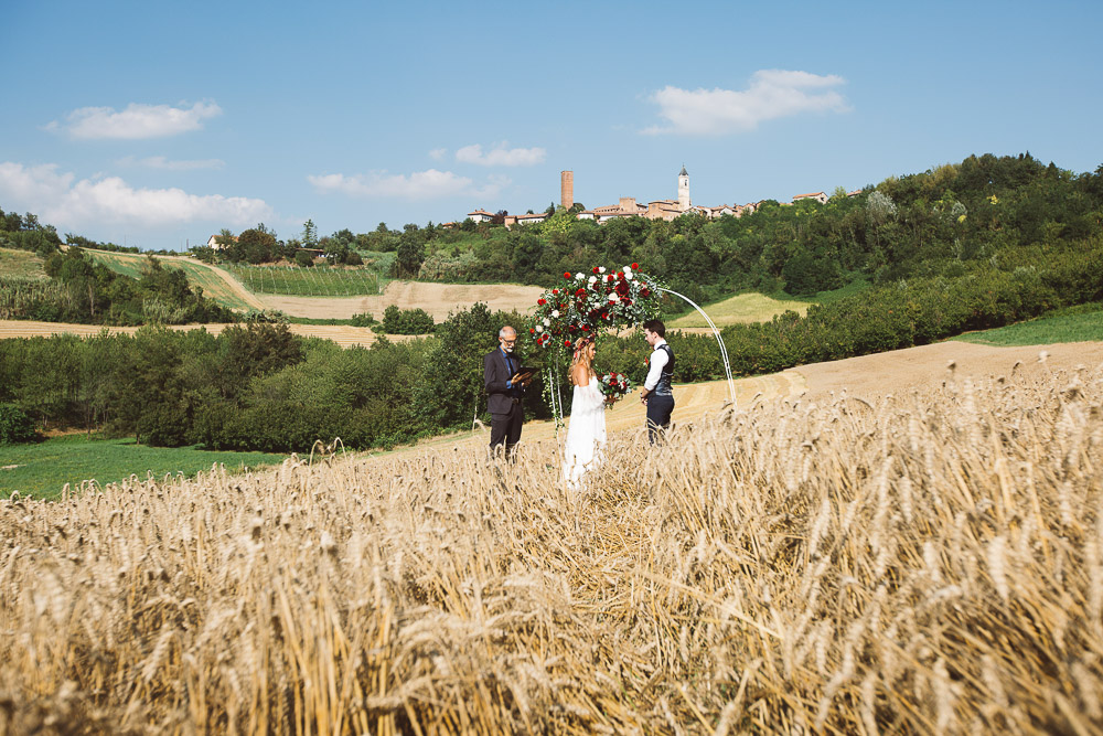 wedding ceremony on wheat field